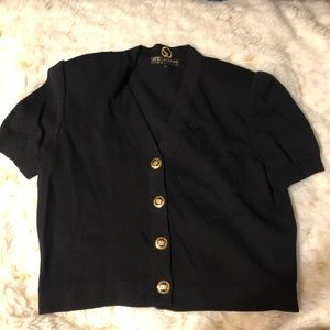 Black sweater with gold buttons!